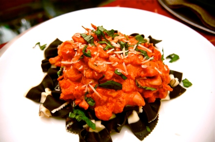 Calamari with Cuttlefish Ink Farfalle and Vodka Sauce