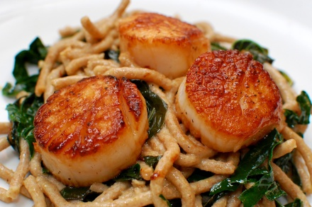 Wild Sea Scallops with Lacinato Kale, Spelt Noodles, and Saffron Cream Sauce