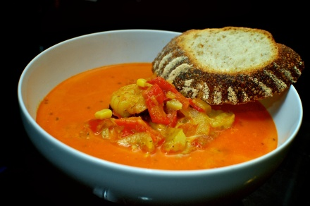 Shrimp Corn Chowder with Roasted Red Peppers