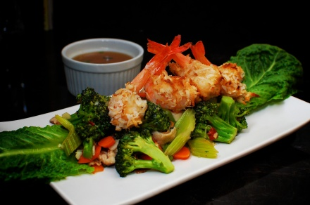 Coconut Shrimp with Vegetables and Sweet Chili Jus
